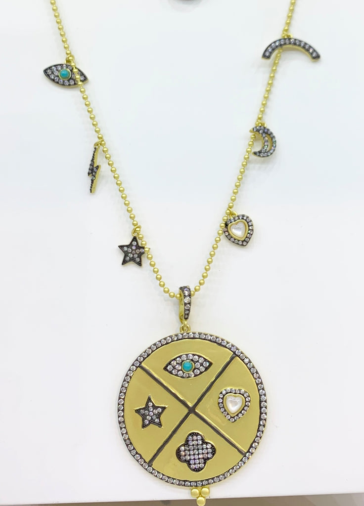 Freida Rothman, Sterling Silver, 14K Yellow Gold Vermeil, Turquoise, & CZ  Necklace