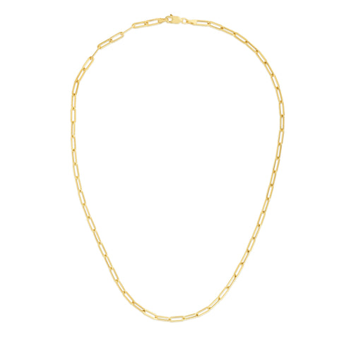 14K Yellow Gold Paper Clip Link Necklace