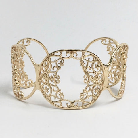 14K Yellow Gold Filigree Cuff