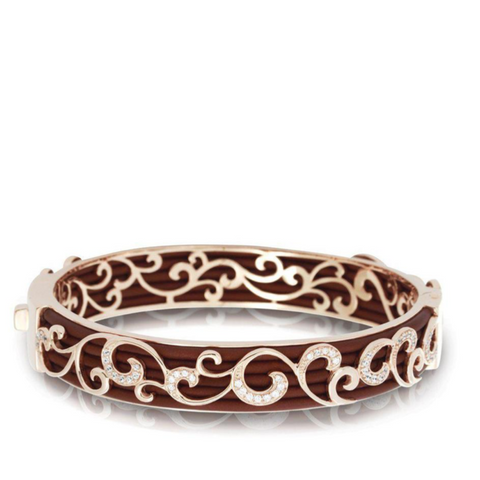 Sterling Silver Swirled CZs & Italian Brown Rubber Bangle