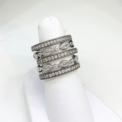 Freida Rothman  Sterling Silver & CZ Five Ring Stack. Black Rhodium
