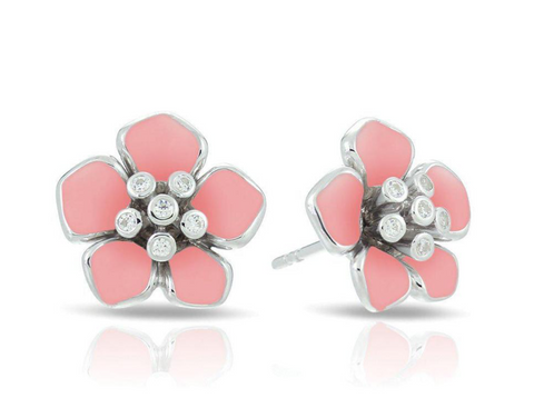 Forget me Not, Sterling Silver, Pink Italian Enamel Flower & CZ Earrings