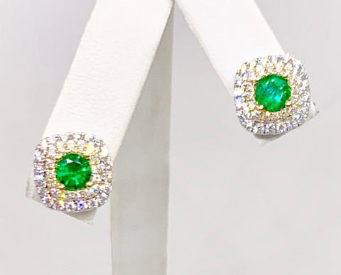 Stunning 18K White & Yellow Gold Emerald & Diamond Earrings