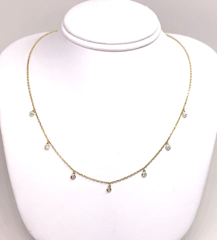 14K Yellow Gold & 7 Bezeled Diamond, Necklace