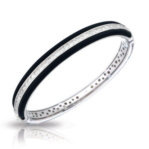 Velocity, Sterling  Silver, Black Italian Rubber, & CZ Hinge Bangle