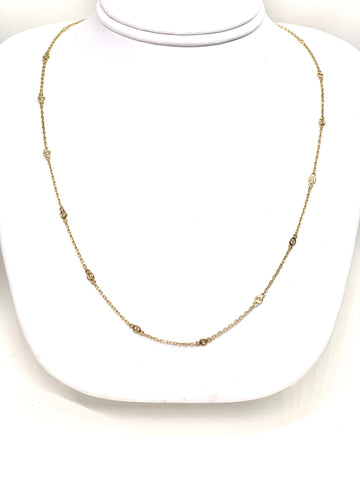 14K Yellow Gold & Yellow Gold Diamond Bezeled Necklace