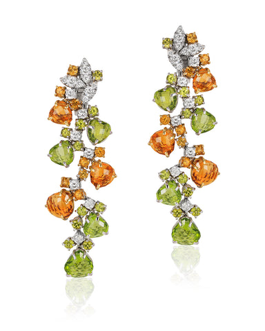 18K Yellow Gold Diamond, Peridot & Citrine Earrings.