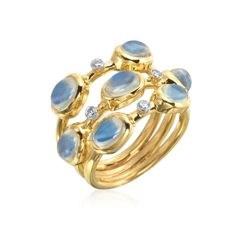 14K Yellow Gold Moonstone & Diamond Ring