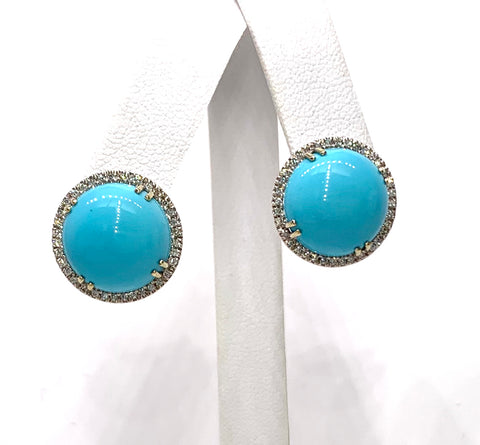 14K White Gold, Diamond & Turquoise Earrings