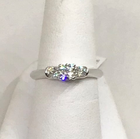 14K White Gold 3 Stone Diamond Ring