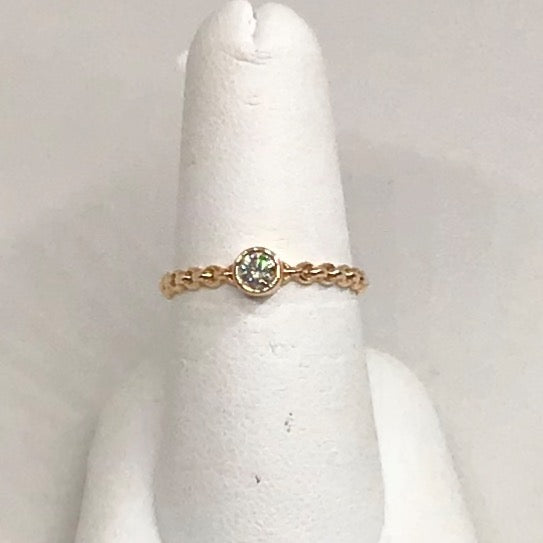 14K Rose Gold and Diamond Bezel Stackable Ring