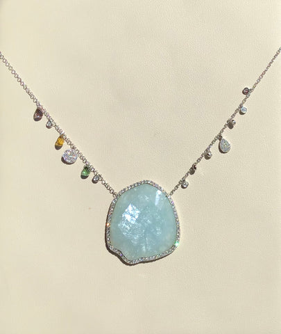 14K White Gold, Diamond, Aquamarine, & Tourmaline Briolette Necklace