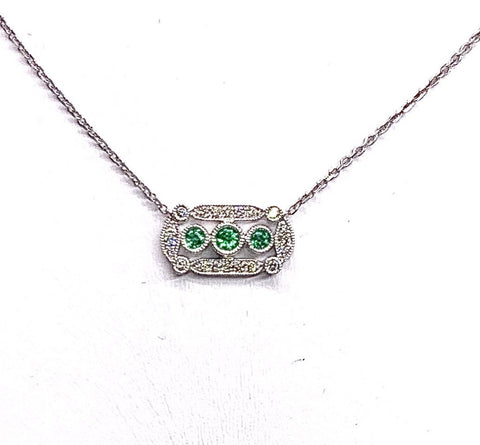 18K White Gold Diamond & Emerald Necklace