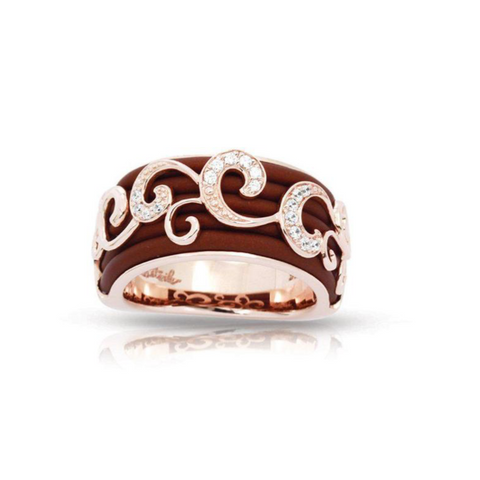 Sterling Silver, Swirled  CZs & Italian Brown Rubber Ring