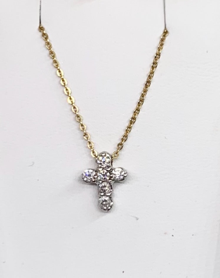 14K White Gold Diamond Cross & Yellow Gold Cable Link Chain