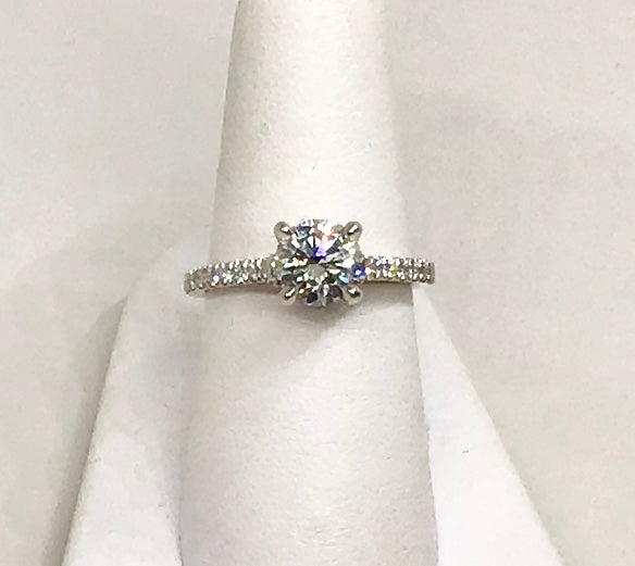 18K White & Rose Gold Diamond Engagement Ring