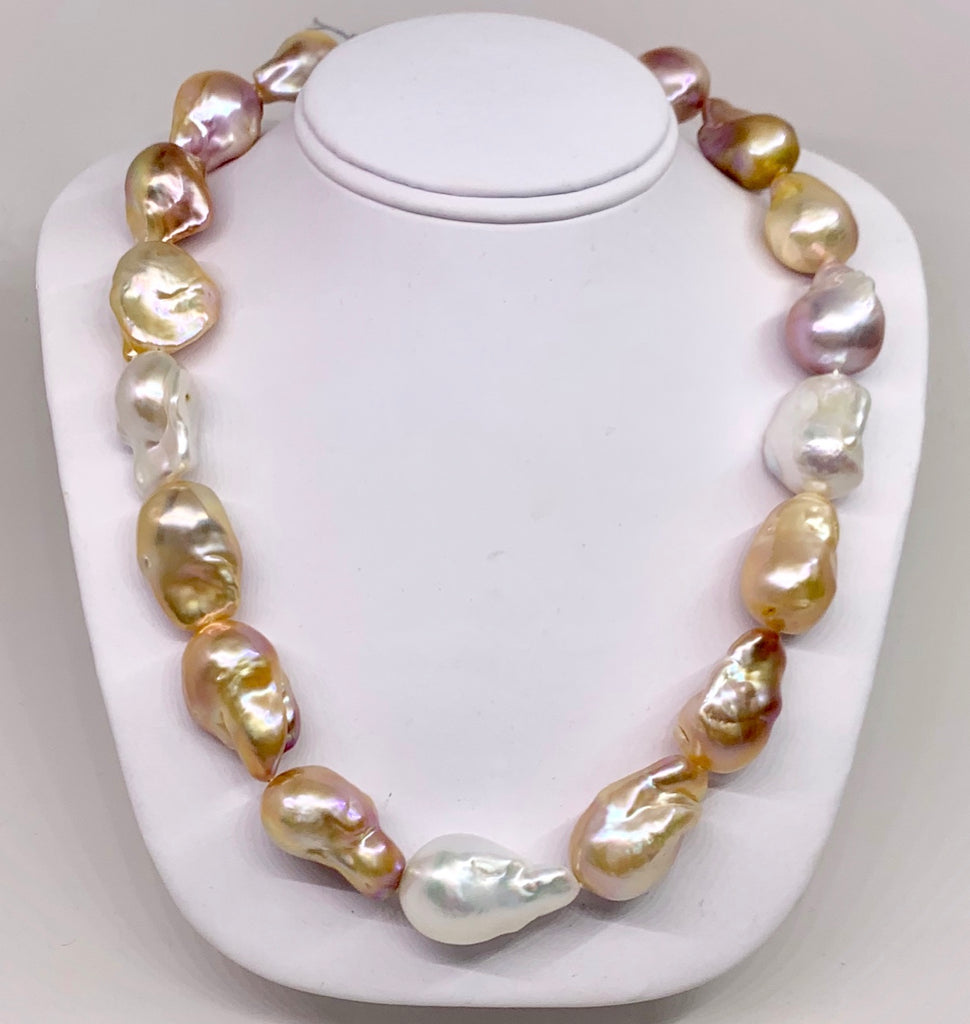 Multi Color Large Baroque Pearl Necklace