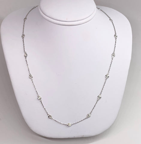 14K White Gold Diamond Station Necklace 16 inches