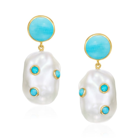 14K Natural Turquoise & Baroque Pearl Earrings
