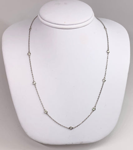 14K White Gold Diamond Station Necklace. 16 Inches Long
