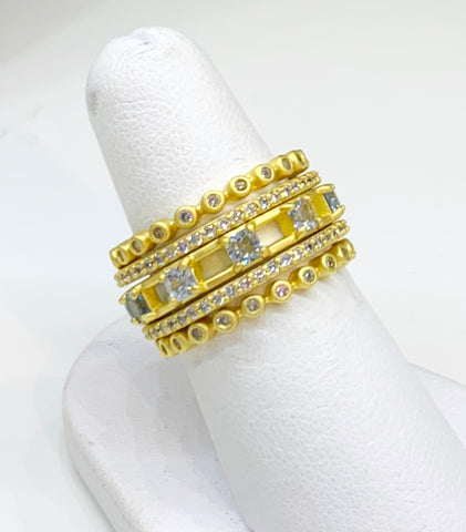 Freida Rothman, Sterling Silver 14K Gold Vermeil, & CZ Rings. Set of Five