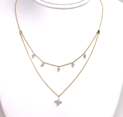 14K Yellow & White Gold & Diamond Necklace