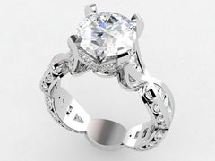 Custom White Gold Diamond Engagement Ring