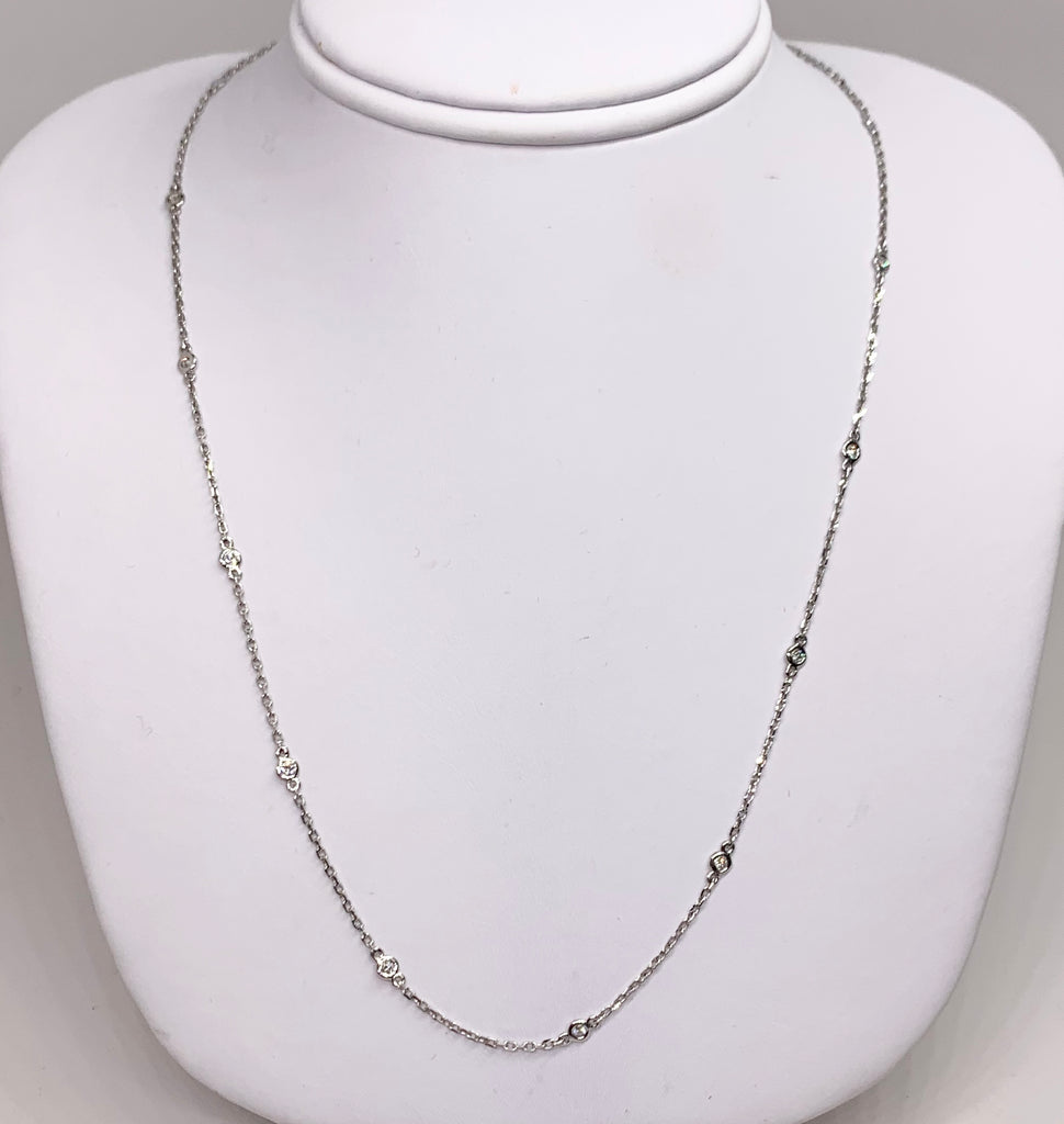 14K White Gold Diamond Station Necklace 16 Inches Long