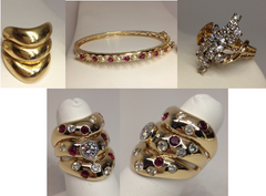 18K Yellow Gold Diamond & Ruby Custom Ring