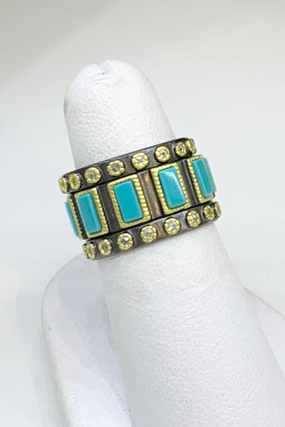 Freida Rothman, Black Rhodium Sterling Silver, CZ & Turquoise Rings.  Set of Three