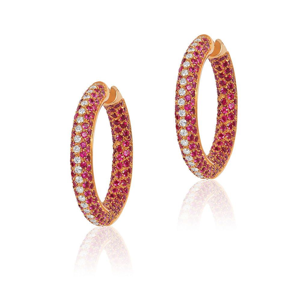 18K Yellow Gold Pink Sapphire & Diamond Hoop Earrings