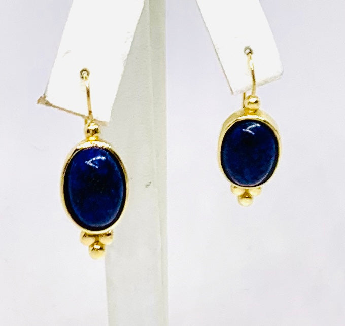 Custom Crafted 14K Yellow Gold & Lapis Earrings