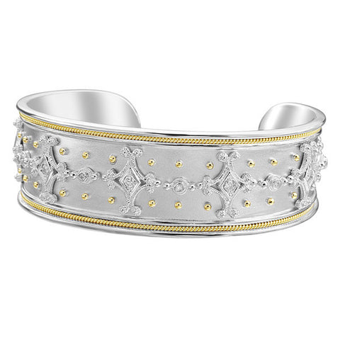 18K Yellow Gold & Sterling Silver Diamond Cuff