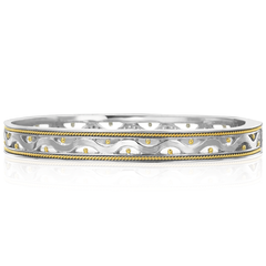 18K Yellow Gold & Sterling Silver Diamond Bangle