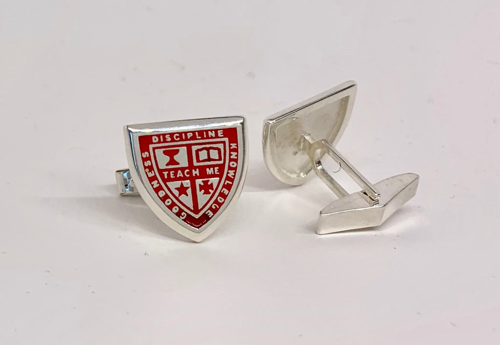 Sterling Silver & Red Enamel Custom Crafted Cufflinks
