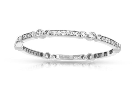 Coronet Sterling Silver, Rhodium Plated, CZ Bangle
