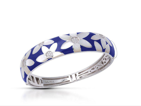 Sterling Silver, Italian Blue Enamel, Mother Of Pearl & Cubic Zirconias. Bangle
