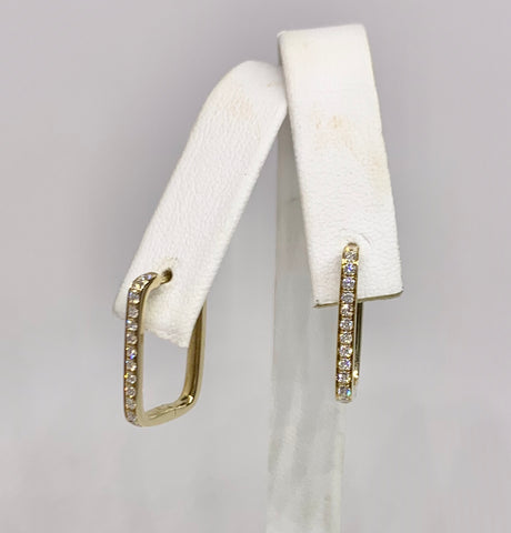 14K Diamond Yellow Gold rectangular shape earrings