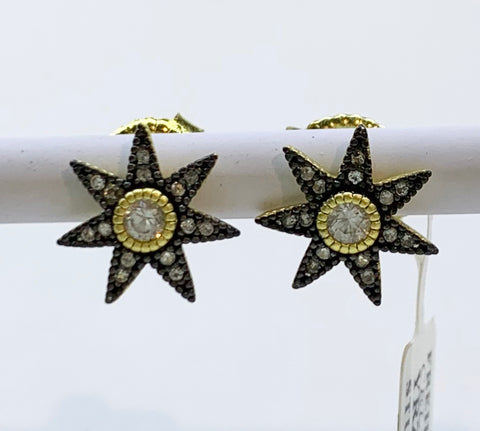 Freida Rothman, Star, Sterling Silver, CZ Stud Earrings