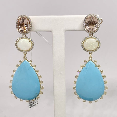 SAMIRA COLLECTION 18K Yellow Gold Diamond, Turquoise, Morganite & Opal Earrings