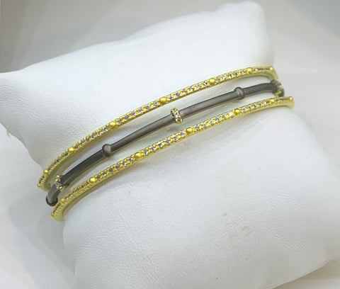 Freida  Rothman, Sterling Silver, 14K Gold Vermeil & CZ Bracelets. Set of Three