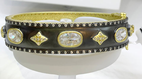 Stunning Freida Rothman Bangle, Sterling Silver, 14K Vermeil, Black Rhodium & CZs