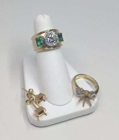 18K Yellow Gold Emerald & Diamond Custom Ring