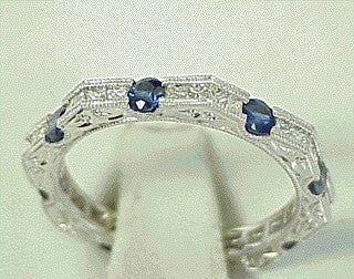 18K White Gold Eternity Band with Blue Sapphires and Diamond Ring