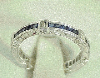 18K White Gold Diamond and Sapphire Eternity Band