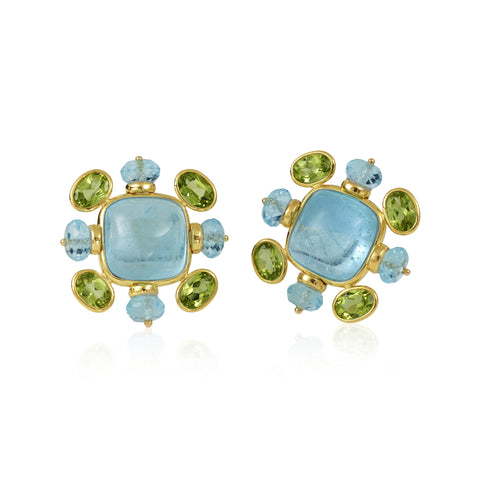14K Aqua Blue Topaz & Faceted Beads & Faceted Peridot Earrings