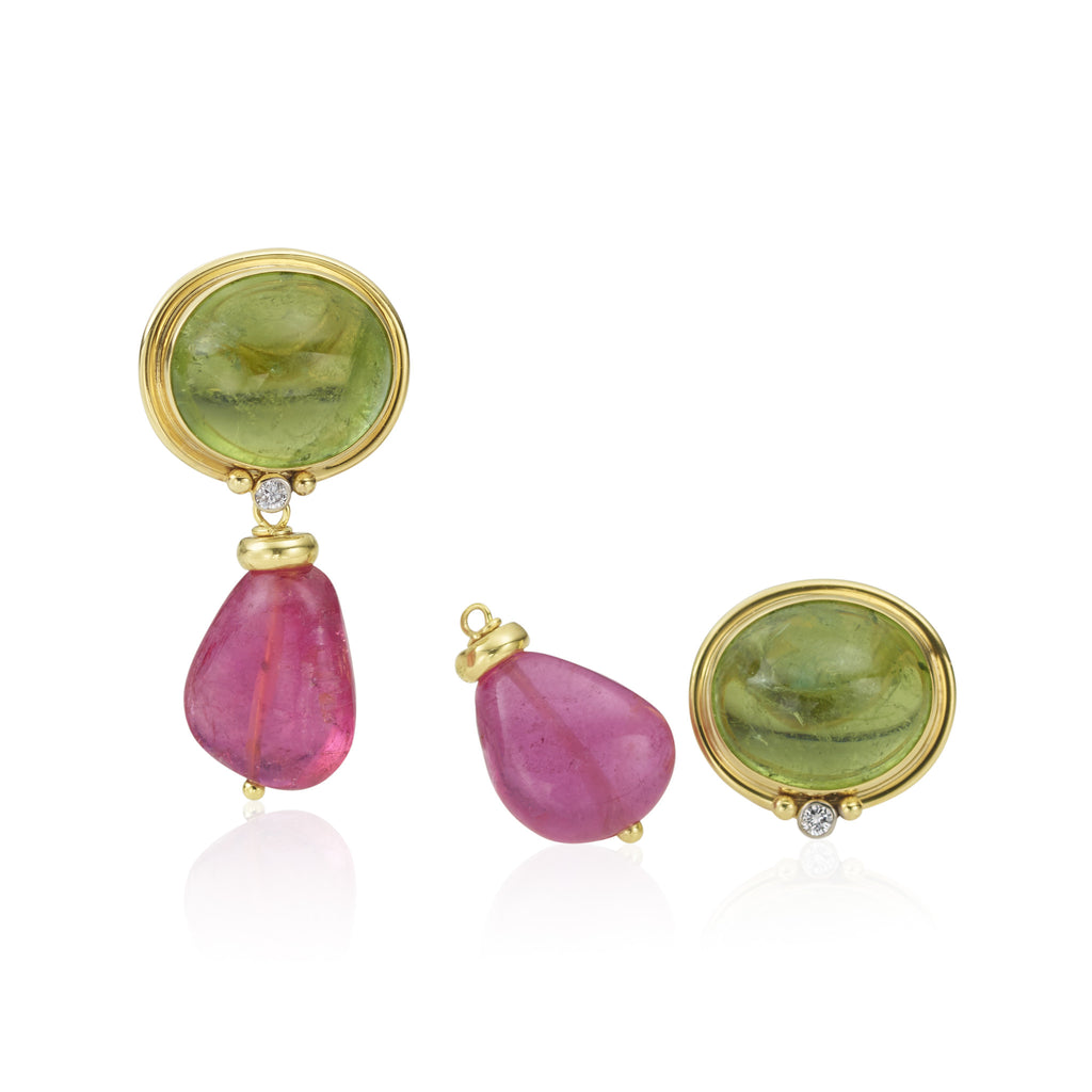 14K Peridot Cabachon Diamond Earrings with Pink Tourmaline Drops