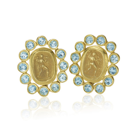14K Blue Topaz & 14K Cast Coin Earring