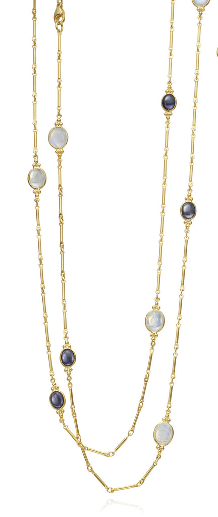 14K Moonstone & Iolite lentil Necklace