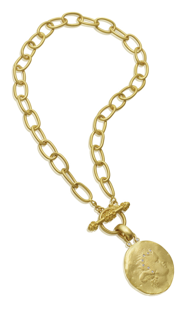 14K Yellow Gold Large Link Toggle Chain with 14K Cast Coin Pendant